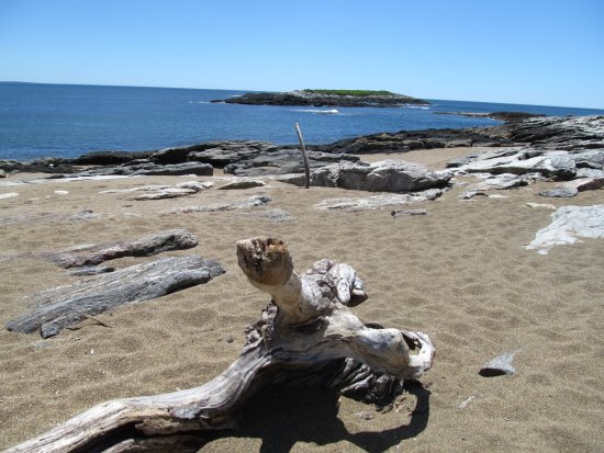 Georgetown, ME: Small beach at Reid State Park, with a nice piece of driftwood you can use as a bench.