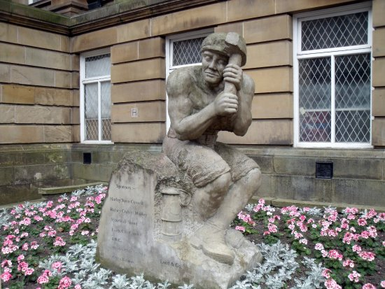 Morley Town Hall: Stone Statue of Man Right of Front Steps