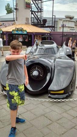 Austell, GA: Batmobile outside the Batman Coaster