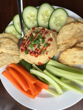 Medina, MN: HUMMUS PLATE : House-made hummus served with pita chips and fresh vegetables
