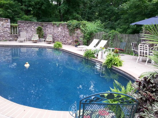 Beautiful Pool Secluded Within Old Barn Stone Foundation Picture