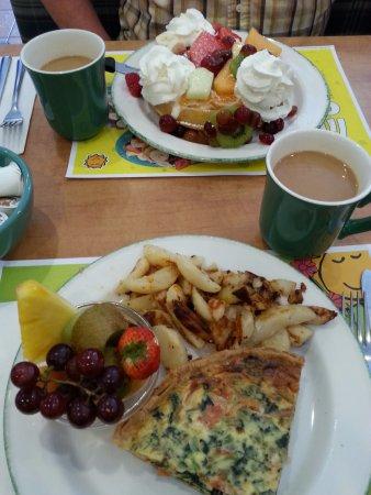 Waffle and quiche, Cora's, Kamloops, BC