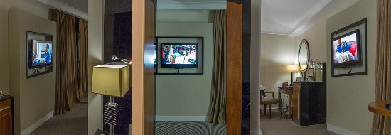 Radisson Blu Hotel & Spa, Galway: L to R. View of the TV from the Bed, Bathroom and Sofa.