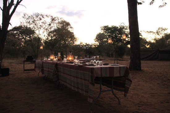 andBeyond Chobe Under Canvas: On the last evening, they had taken down the tent over the table and we ate under the stars