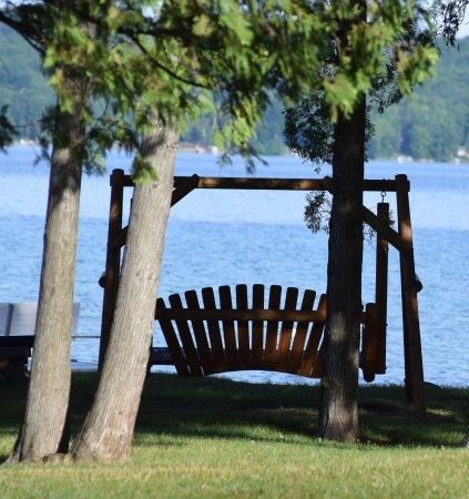 Alden, MI: Wood swing for watching perfect sunsets