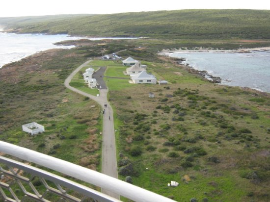 View from Cape Leeuwin Lighthouse, Augusta, looking back towards walking track and cottages.