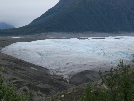 McCarthy, AK: Glacier from afar. You can barely make out the tiny figures walking on the ice.