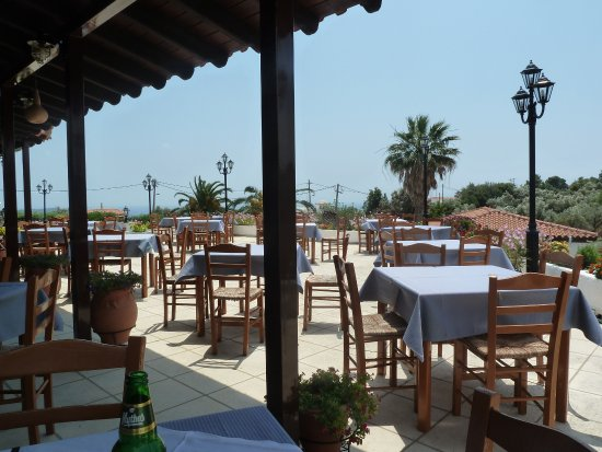 Paradise Hotel: Outside dining area where you get great service, meals and views