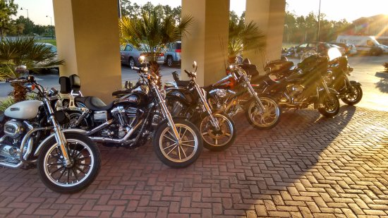 Comfort Suites Panama City Beach: The car park full of Harleys. :)