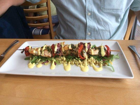 The Navigator Restaurant: seafood skewers with swordfish, king prawns marinated in chilli garlic and coriander £16:95