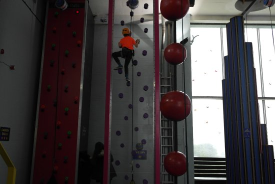 Lakeland Climbing Centre : Yougest son aged 8 on one of the climbing walls