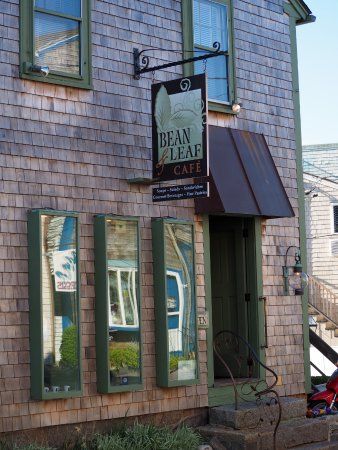 Outside Bean & Leaf Cafe on Bearskin Neck in Rockport, MA