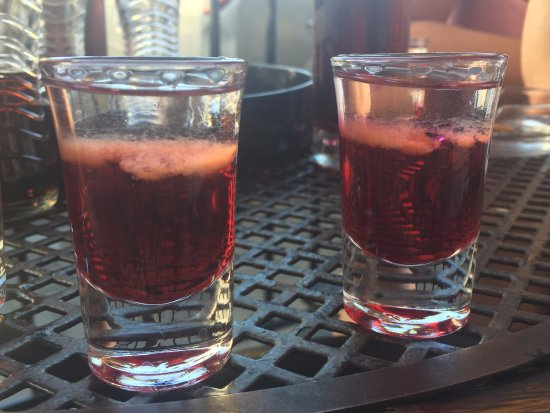 Alchemia : Mad Dog shot - apparently a local speciality! Vodka, raspberry juice/cordial and tobasco!