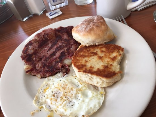 Machias, ME: Corned beef hash, one egg, grilled biscuit