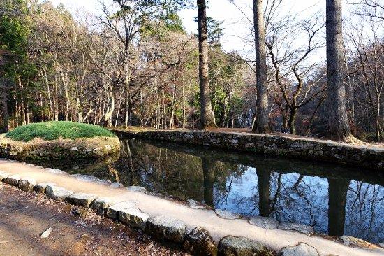 Suncheon, Sydkorea: 선암사의 삼인당입니다. 긴 알 모양의 연못 안에 타원형의 알 모양을 한 섬이 떠 있는 모양입니다.