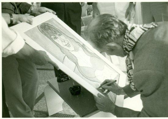 """Casa Museo """"Pietro Ghizzardi"""": Spazio espositivo principale della Casa Museo con il murales """"Il Mosè"""""""