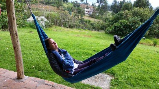 La Luna Mountain Lodge: Relaxing in one of several hammocks.
