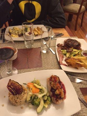 Sea bass, filet mignon and pork tenderloin