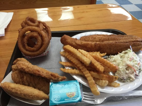 The Spot Grill: Onion rings, chicken tenders, and flounder platter