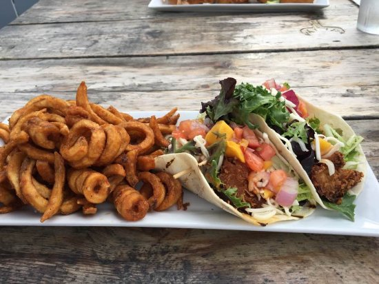 Sylvan Lake, Canada: Coconut Shrimp Tacos with Curly Fries