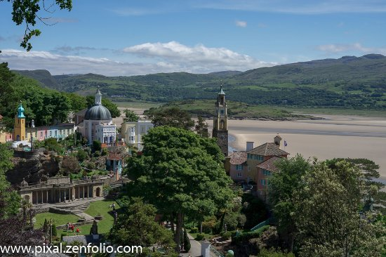 Portmeirion, UK: From the gardens above the village and looking across the estuary.