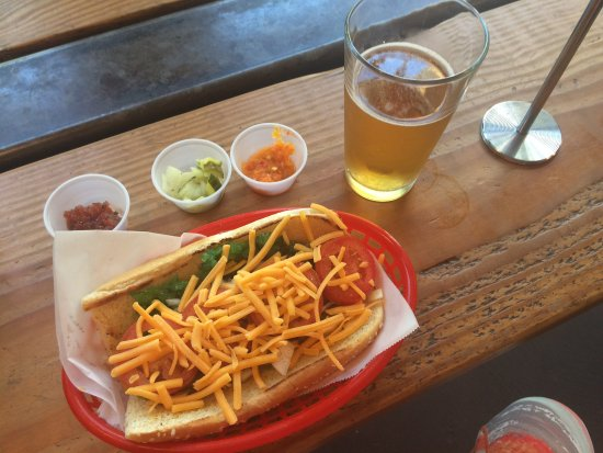 The Wurst Restaurant: The Wurst's Chicago Dog with cheese, condiments and a Pils