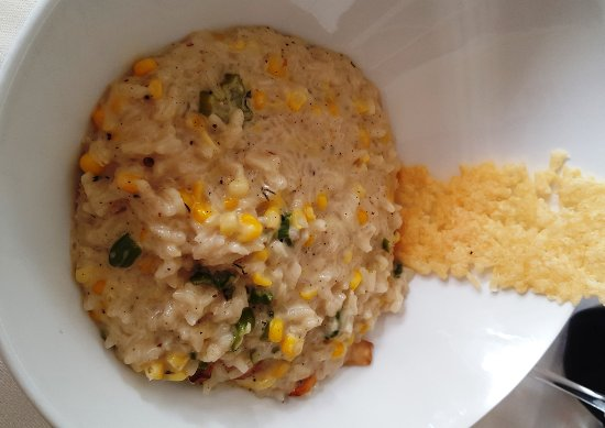 Zola Kitchen and Wine Bar: Local sweet corn risotto was good, but a bit bland for my taste. Served with a great parmesan cr