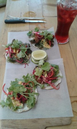 Saint Francis Bay, South Africa: beetroot & ginger falafels - yum, with cherry beer