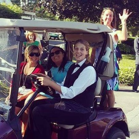 Manchester, ME: Friendly golf cart rides up to the reception