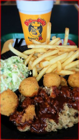 Kingston, TN: Pork Dinner with Fries, Slaw and Hush Puppies