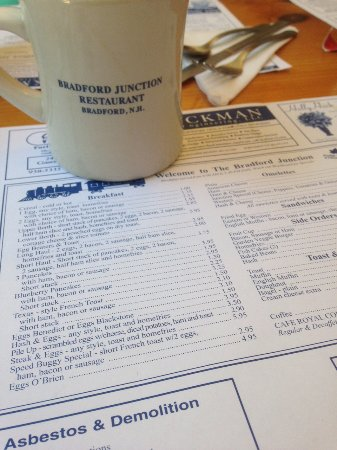 Bradford, Nueva Hampshire: The menu/placemat