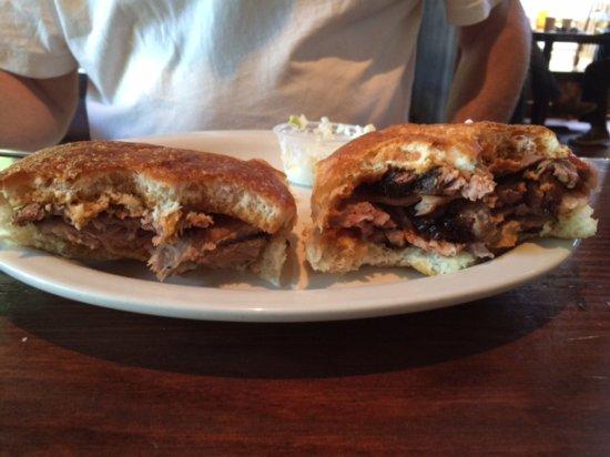Judge's Riverside Restaurant: Same sandwich — brisket — but one had much less meat!