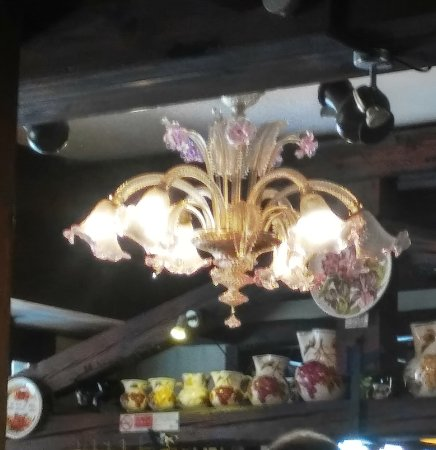 Osteria del Lupo Nero : Chandelier near the door (loved it)