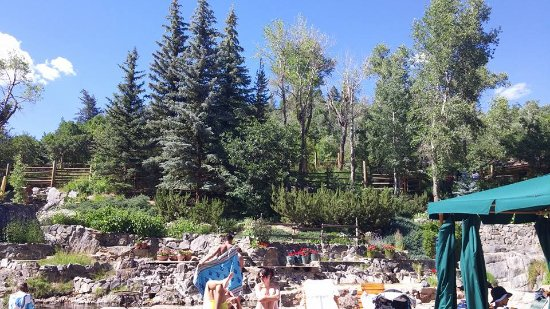 Strawberry Park Hot Springs: Some of the pines and flowers surrounding the bathing pools in summer.