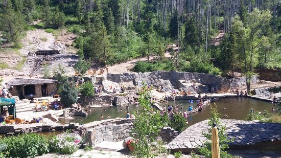 Strawberry Park Hot Springs: A view looking down on the springs and river.