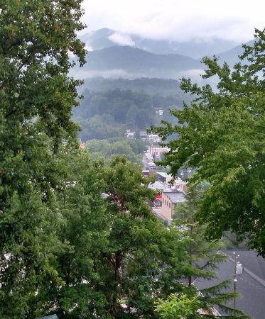 Fryemont Inn: View of the Smokies and Bryson City from the porch