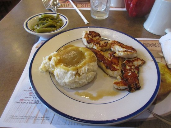 Lake City, FL: Grilled chicken tenders, mashed potatoes with gravy and green beans.