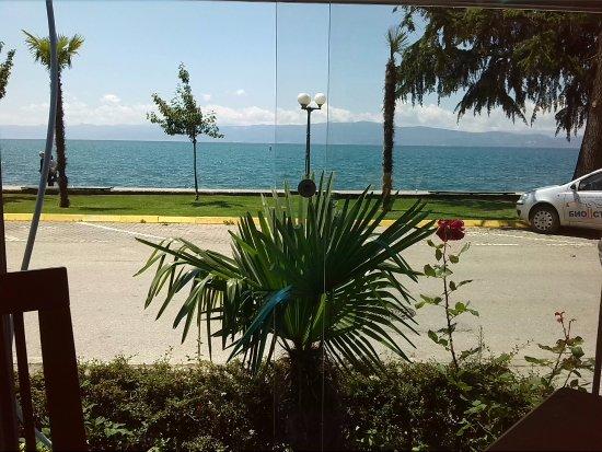 Македония, Греция: uitzicht op het meer van Ohrid