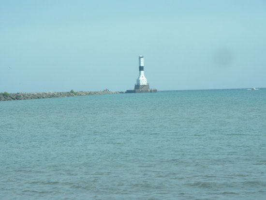 We were look over Lake Erie Conneaut Lighthouse from the park.