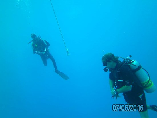 Windwardside, ซาบา: Luis (dive master) & Rudi (dive buddy) doing a safety stop