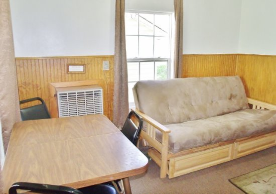 Gaines, PA: Seating area of large cabin