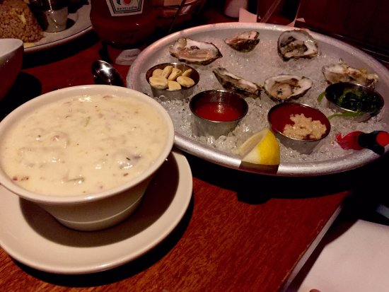 Oysters with home made cocktail sauce, Clam Chowder