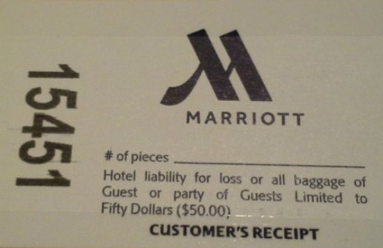 Washington Dulles Airport Marriott: bag ticket