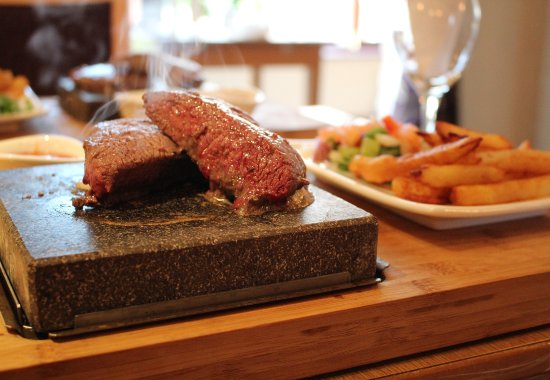 Langho, UK : Stone Steaks at The Fold Restaurant