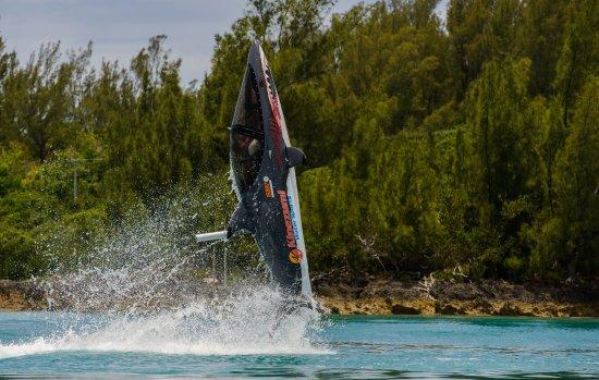St. George, Bermuda: Vertical jump out of Bermuda's crystal clear water