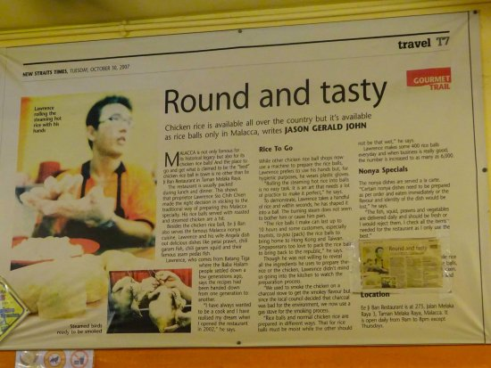 EeJiBan Chicken Rice Ball Halal: A newspaper clipping about Ee Ji Ban :).