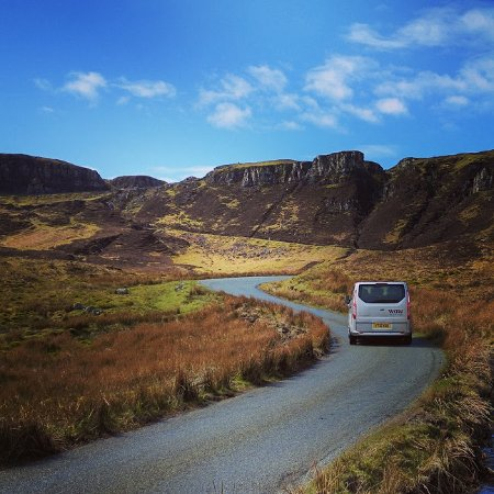 WOW Scotland mini-van on the Quiraing, Skye