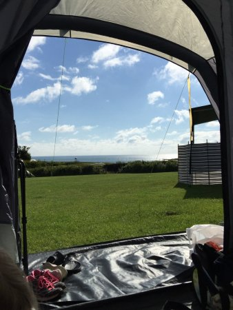 Dulas, UK: The view from the Red camping zone and the cafe