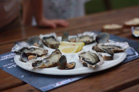 Ile-aux-Moines, Francúzsko: une photo de 6 huîtres et 6 palourdes prise au 50mm