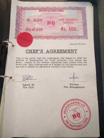 Head Quarters Restobar Lounge Chefs Agreement An Unique Legal